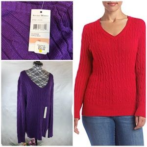 NWT Studio Works Purple Cable Knit Sweater